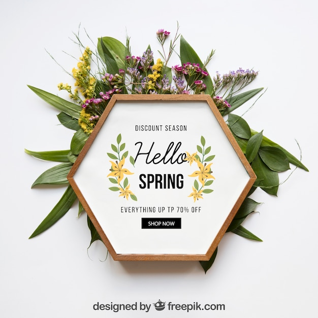 Spring mockup with hexagonal frame Free Psd