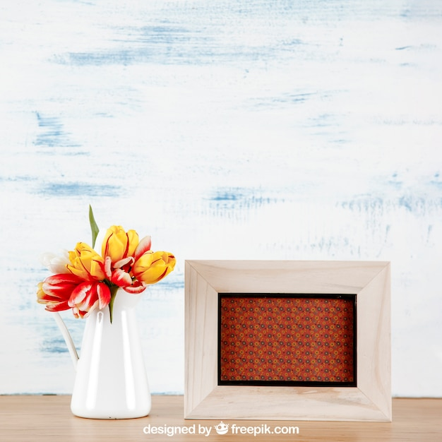 Spring Mockup With Horizontal Frame And Vase Of Flowers Psd File