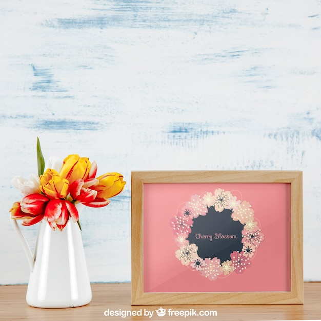 Spring Mockup With Horizontal Frame And White Vase Of Flowers Psd
