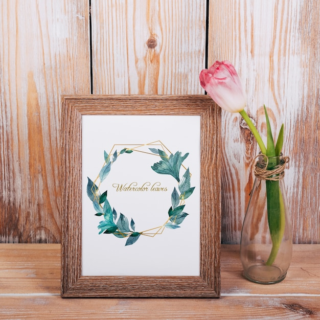 Spring mockup with wooden frame Free Psd