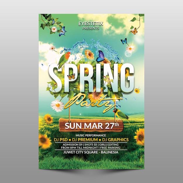 Spring party flyer Premium Psd