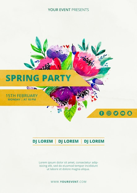 Spring party poster template with watercolor flowers Free Psd