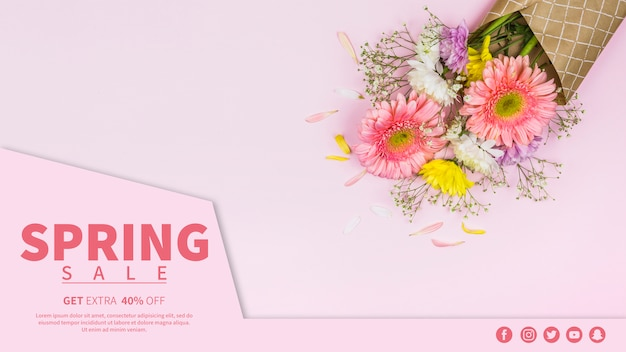 Spring sale banner template Free Psd