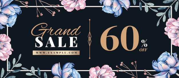 Spring sale banner with hand-drawn floral decoration Premium Psd