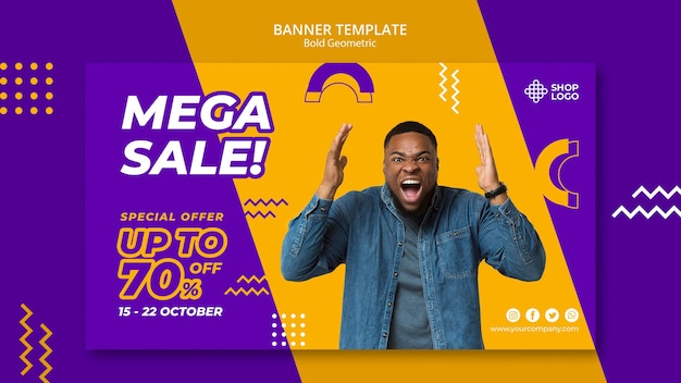 Spring sale bold geometric model banner template Free Psd