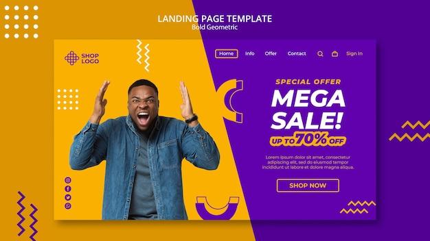 Spring sale bold geometric model landing page template Free Psd