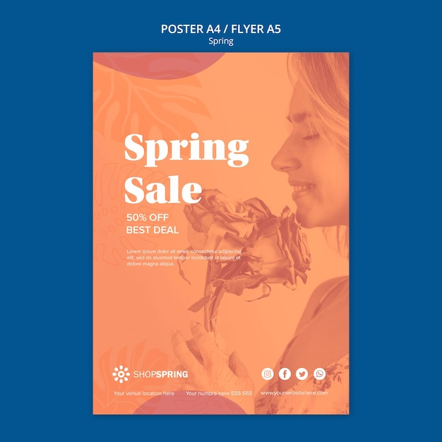 Spring sale discount poster Free Psd