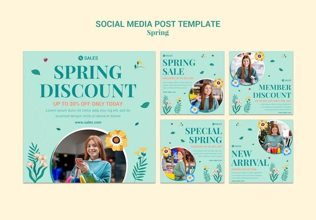 봄 세일 instagram posts 무료 PSD 파일