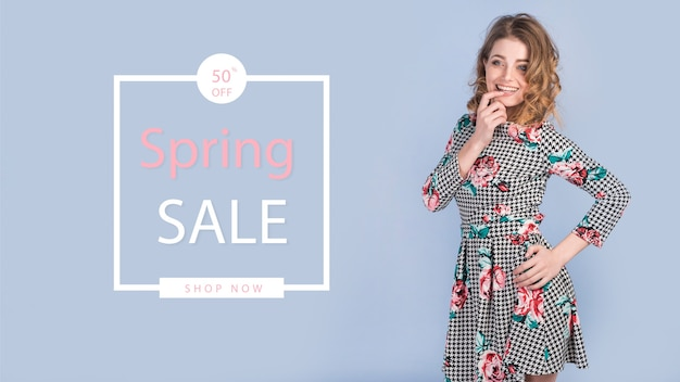 Spring sale mockup with stylish woman Free Psd