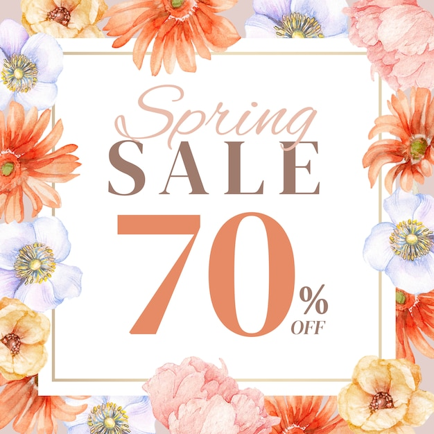 Spring sale post with hand-drawn floral decoration Premium Psd