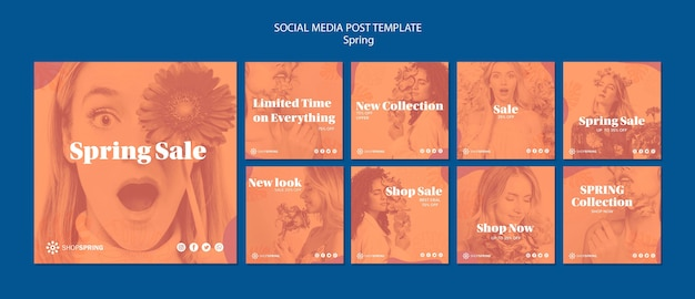Spring sale social media post template Free Psd
