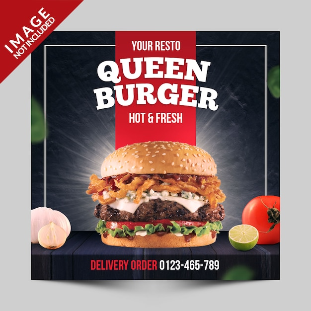 Square banner, flyer or instagram post for fast food restaurant with burger photo Premium Psd