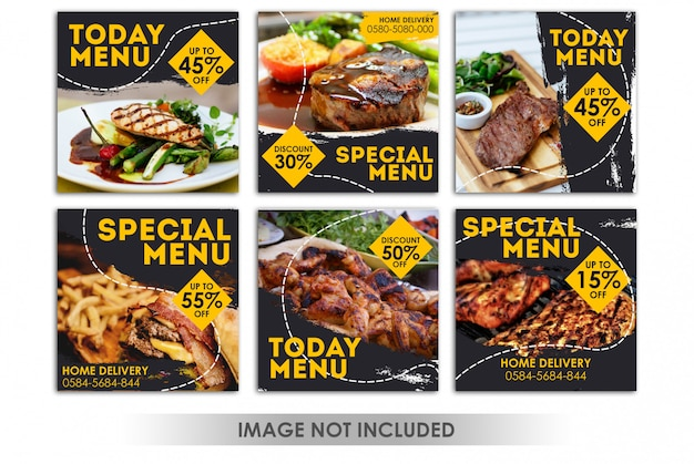 Square banner or instagram post for restaurant, food grill, bbq Premium Psd