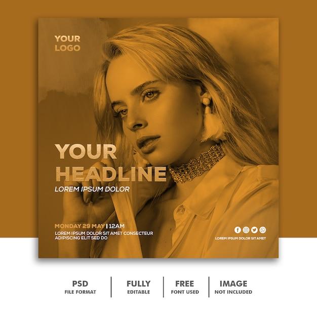 Square banner social media post template gold Premium Psd