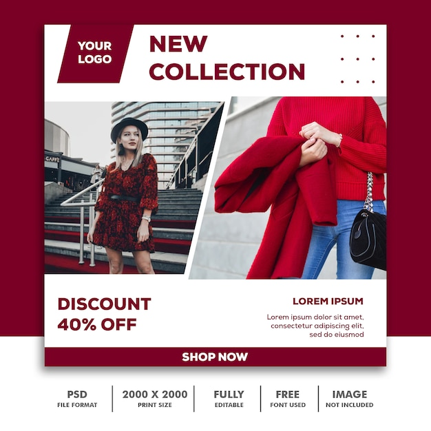 Square banner template, beautiful girl fashion model elegant red collection Premium Psd