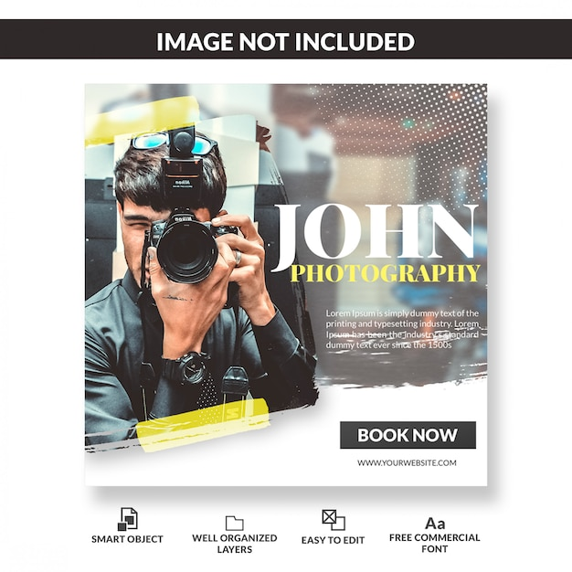 Square banner template or flyer for photographers or photography agency Premium Psd