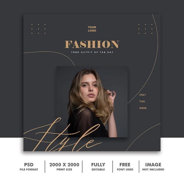 Square banner template for instagram, fashion gold Premium Psd
