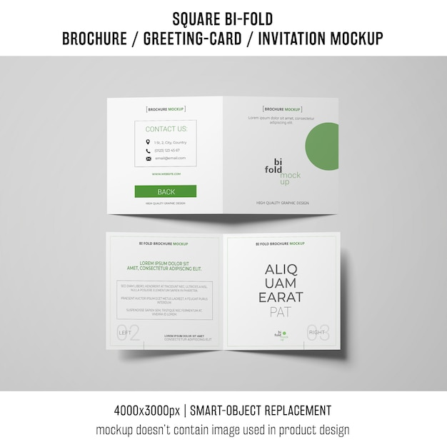 Square bi-fold brochure or greeting card mockup of two Free Psd