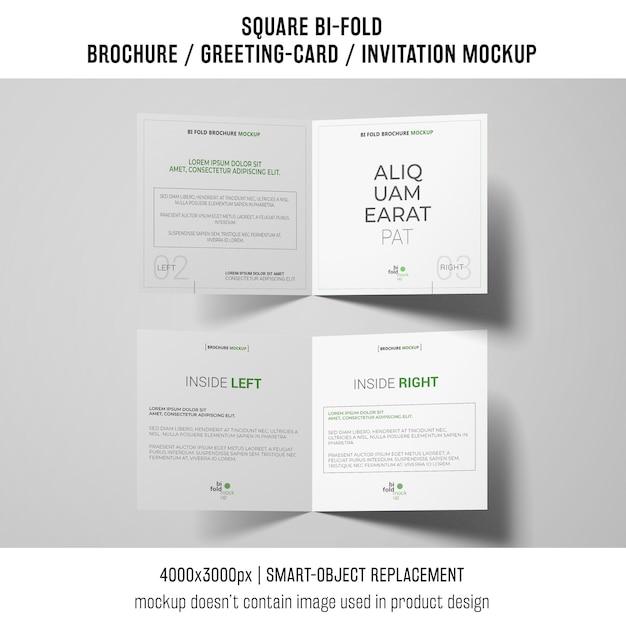 Square bi-fold brochure or greeting card mockup on white background Free Psd