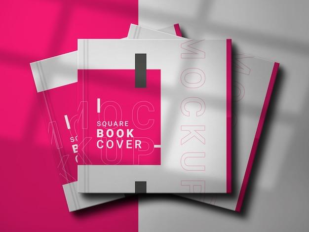 우아한 디자인의 정사각형 책 모형 프리미엄 PSD 파일