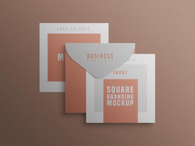Mockup del marchio quadrato con biglietto da visita e busta Psd Gratuite