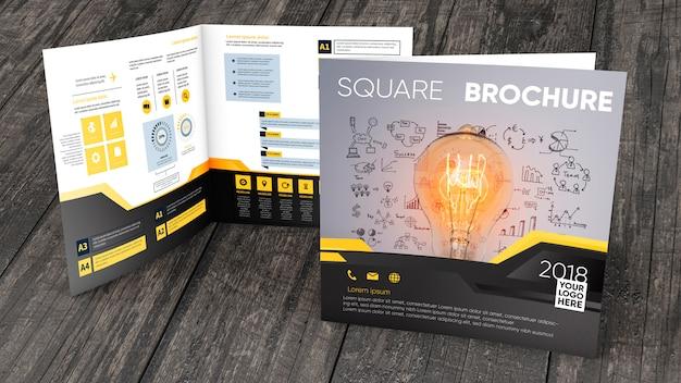 Квадратный макет брошюры на деревянной поверхности Бесплатные Psd