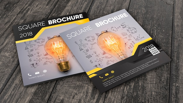 Square brochure mockup on wooden surface Free Psd