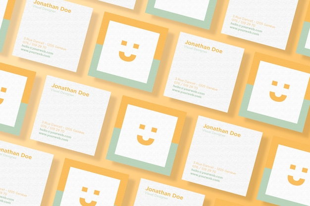 Square Business Card Mockup Set Premium Psd File