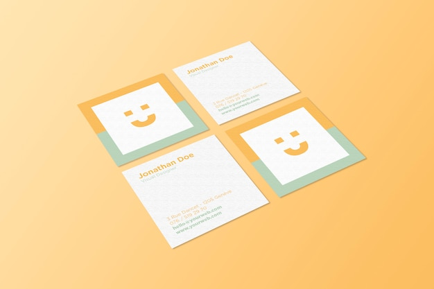square business card mockup premium psd