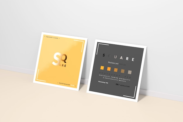 Square business card mockups Premium Psd