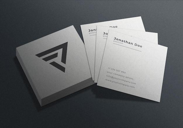 정사각형 명함 인쇄 모형 디자인 프리미엄 PSD 파일