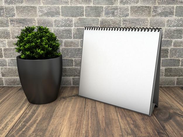 Square calendar mockup with plant Free Psd