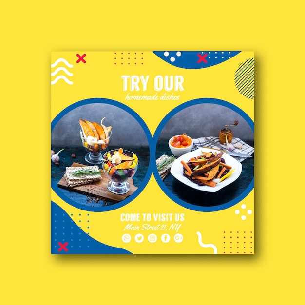 Square card template for restaurant in memphis style Free Psd