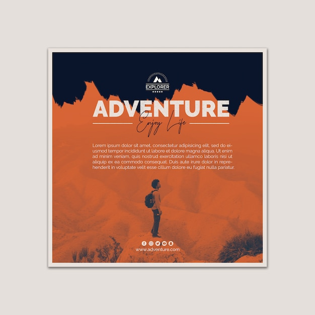 Square cover template with adventure concept Free Psd