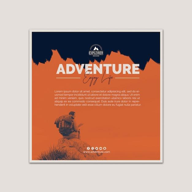 Modello di copertina quadrata con il concetto di avventura Psd Gratuite