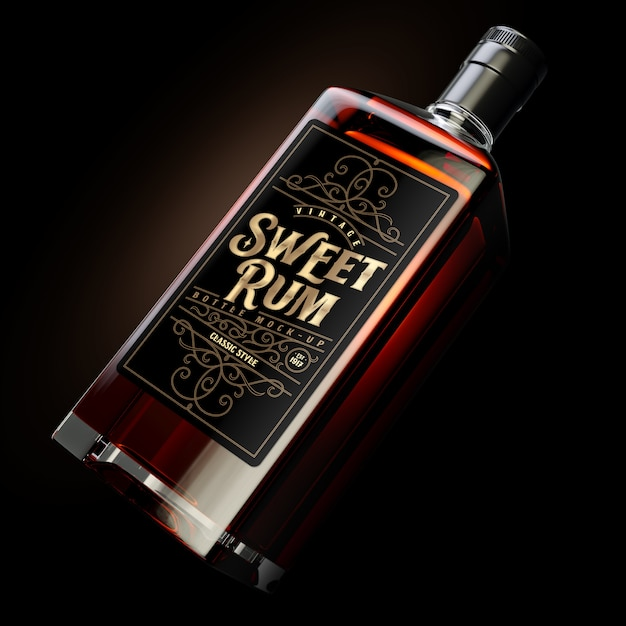 Square dark rum bottle mockup with label Free Psd