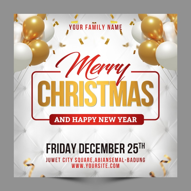 Square design merry christmas and happy new year greeting for social media post template Premium Psd