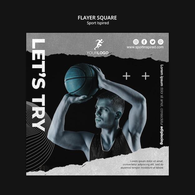 Modello di allenamento basket flyer quadrato Psd Gratuite