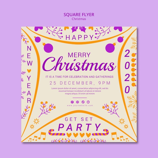 Square flyer christmas template Free Psd