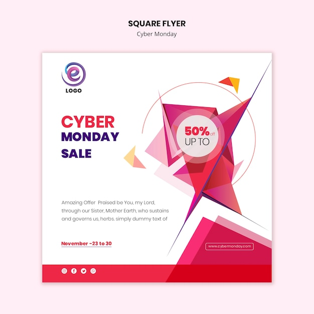 Square flyer cyber monday template Free Psd