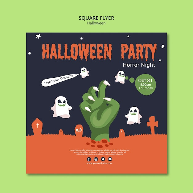 Square flyer for halloween party Free Psd