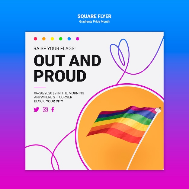 Square flyer for lgbt pride Free Psd