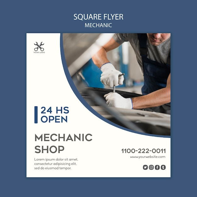 Modello quadrato meccanico flyer Psd Gratuite