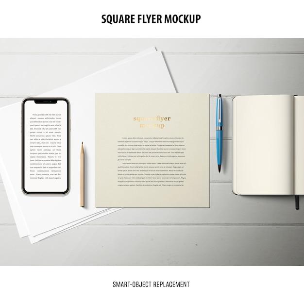 Квадратный макет flyer Бесплатные Psd