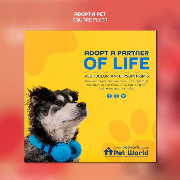 Square flyer for pet adoption with dog Free Psd
