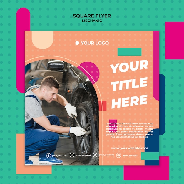 Square flyer for professional mechanic Free Psd