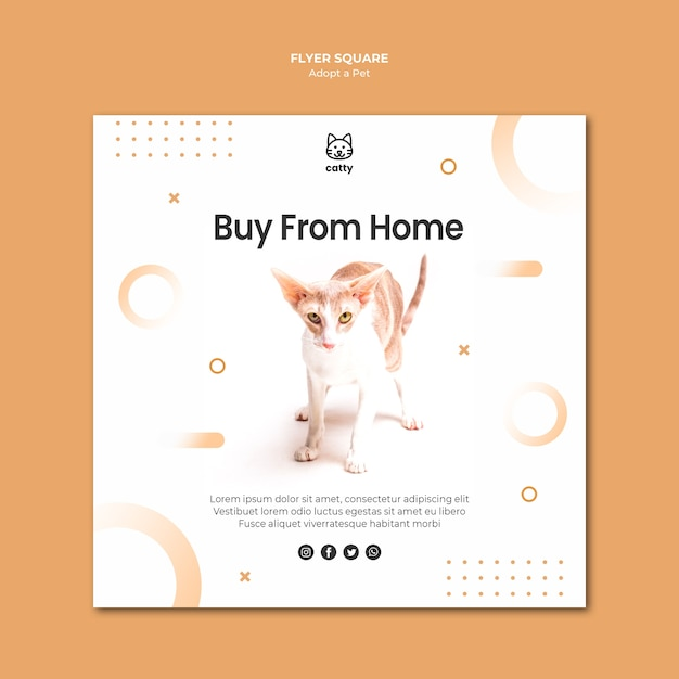 Square flyer template for adopting a pet Free Psd