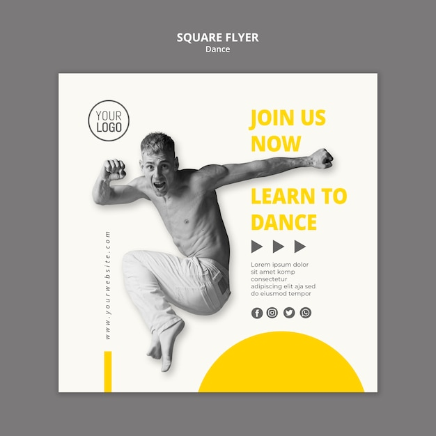 Square flyer template for dance lessons Free Psd
