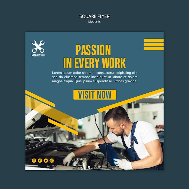 Square flyer template for mechanic profession Free Psd