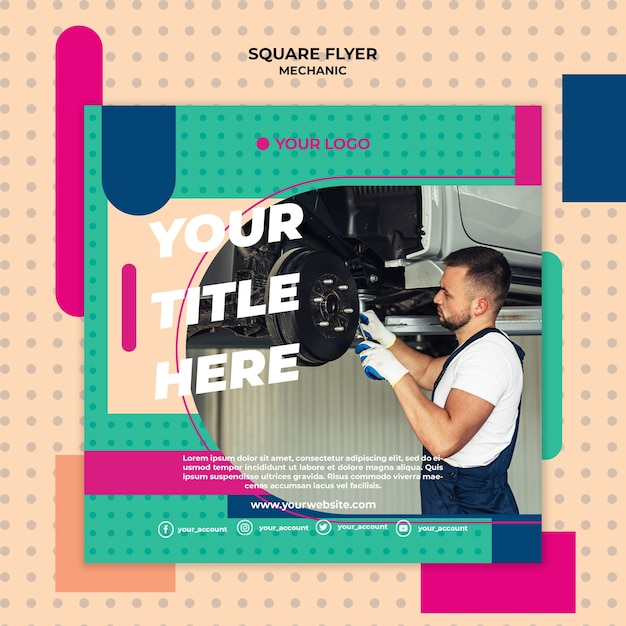 Square flyer template for mechanic Free Psd